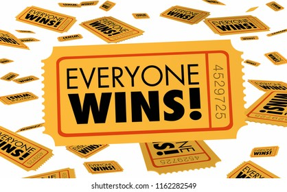Everyone Wins Everybody Working Together Ticket 3d Illustration
