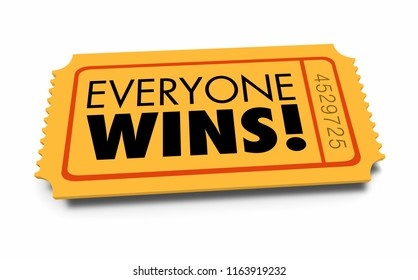 Everyone Wins Ticket Contest Teamwork Everybody Winner 3d Illustration
