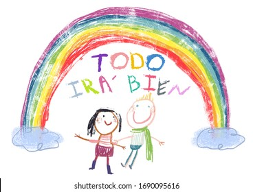 "Everything will be fine ""Todo ira bien"" is gonna be alright in hand drawing letters a kids, rainbow and clouds. Art used by  the Spanish during the influence Corona Virus - Covid19"