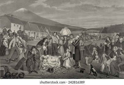 THE EVICTION: A SCENE FROM LIFE IN IRELAND. 1871 American print shows a community of tenant farmers with their belongings being forcibly evicted from their homes.