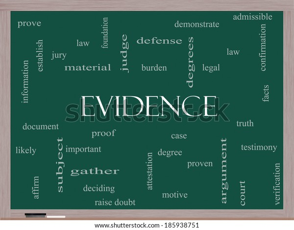 Evidence Word Cloud Concept on a Blackboard with great terms such as proof, burden, material and more.