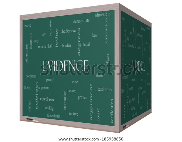 Evidence Word Cloud Concept on a 3D cube Blackboard with great terms such as proof, burden, material and more.
