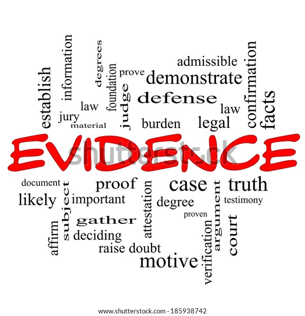 Evidence Word Cloud Concept in red caps with great terms such as proof, burden, material and more.