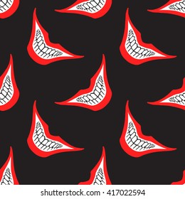 Evil clown or playing card joker smile seamless pattern. Creepy, scary smiles with red painted lips and bared teeth texture. Fool's Day or Halloween funny, irony endless background. Raster version.