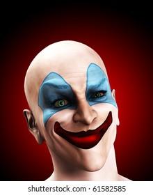 Evil clown puzzled.