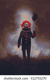 evil clown standing with a black balloon against a dark background,illustration painting