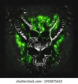 Evil dark demon skulls glowing green - 3D Illustration