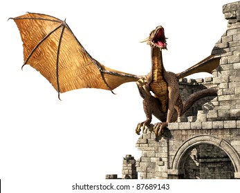 Evil dragon on castle isolate