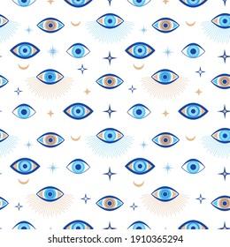 Evil eye seamless pattern. Magic talisman and occult symbol. Greek ethnic blue, white and golden third eyes. Flat  abstract wallpaper. Talisman eye amulet seamless wallpaper illustration