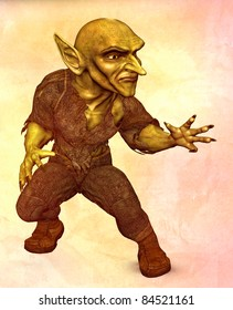 Evil green Goblin demon ready to attack or cast a spell. Full body view. Textured background. Original illustration.
