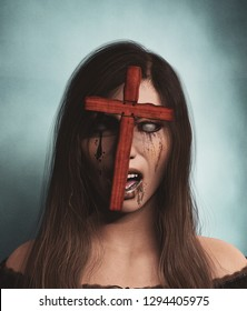 Evil hunter,Ghost woman portrait with cross in her face,3d illustration