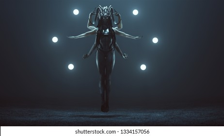 Evil Multi-Armed Witch with White Eye and a Head Dress Floating with Glowing Orbs in a Foggy Void Day 3d Illustration 3d render