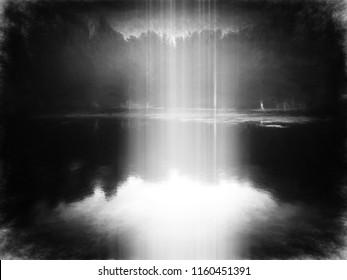 Evil park with god's light rays illustration background