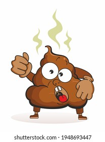 Evil poop shows a fist. Cute cartoon mascot character. Funny Poop emoticon Face stinky poop shit emoji icon, colorful pictogram.