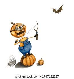 Evil pumpkin with a slingshot. The minion became a pumpkin. Halloween and pumpkin