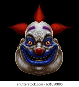 Evil scary smiling fat clown. Halloween circus character on black background.