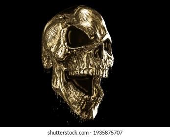 Evil screaming skull made out of gold - 3D Illustration