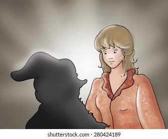 The evil shadow of Rumpelstiltskin is surrounding the beautiful princess. Digital illustration for Grimm's fairy tale Rumpelstiltskin.