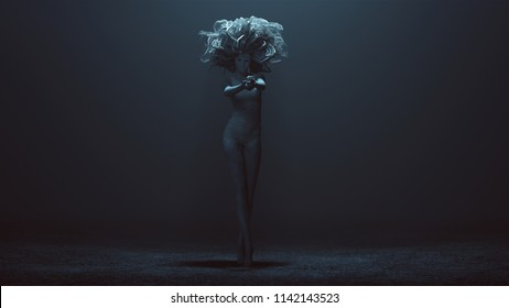 Evil Spirit in a foggy void with a Bad Hair Day 3d Illustration