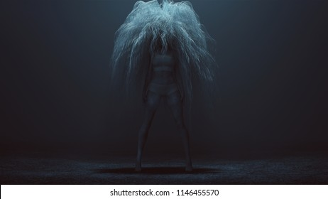 Evil Spirit in a foggy void with Glowing White Eyes and a Bad Hair Day 3d Illustration