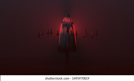 Evil Spirit Ghost Demon with Crossed Legs and Hands by Her Sides in a Death Shroud with Upside Down Floating Crosses Abstract Demon in a Red Foggy Void front View 3d illustration 3d render