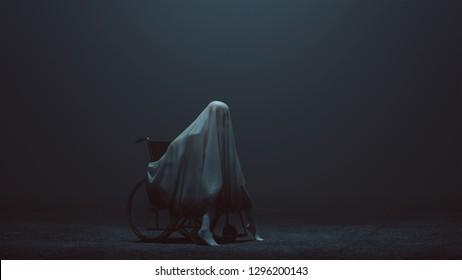 Evil Spirit Sat in a Wheelchair in a foggy void 3d Illustration 3d Rendering