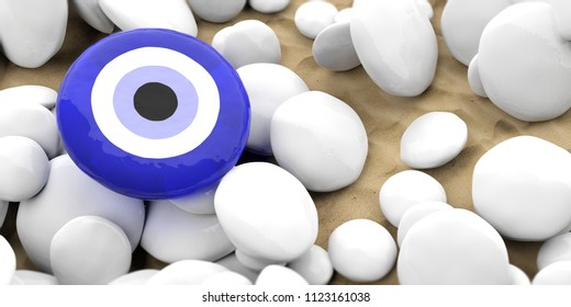 Evil turkish eye amulet, protection from bad luck on white pebbles, sandy beach background. 3d illustration