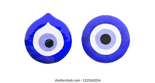 Evil turkish eyes amulet, two, cutout, top view, protection from bad luck isolated on white background. 3d illustration