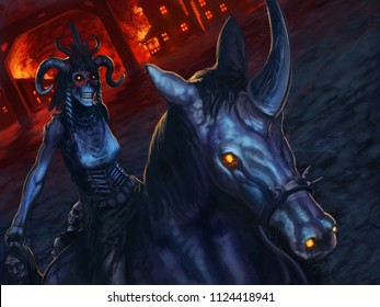 Evil, undead, voodoo zombie riding a horse with a burning village behind her - digital fantasy painting