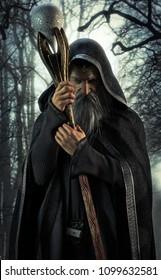Evil Warlock posing in an enchanted dark forest. 3d rendering