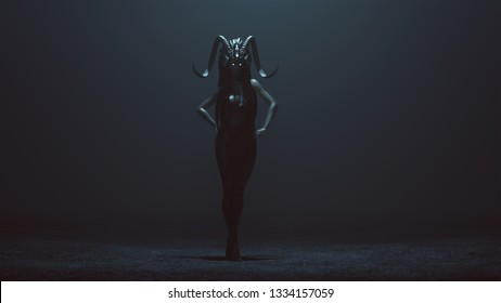 Evil Witch with Glowing Eyes and a Tight Black Low Cut Dress with Head Dress Walking with Hands on Hips in a Foggy Void 3d Illustration 3d render
