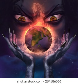 Evil witch holding a burning planet. Evil witch with evil grim face holding a burning planet Earth in her scary long hands illustration.