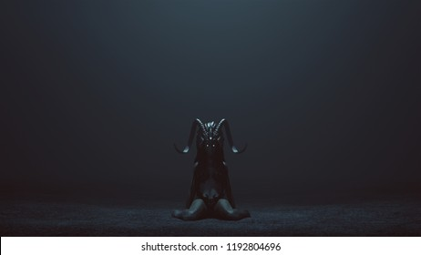 Evil Witch Kneeling with a Head Dress in a foggy void with 3d Illustration 3d render