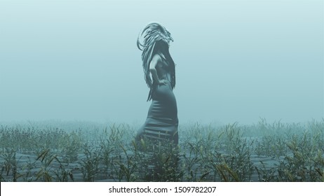 Evil Witch Spirit in a Tight Black Low Cut Dress with Head Dress Walking with Hands on Hips Abstract Demon Foggy Watery Void with Reeds and Grass background Side View 3d Illustration 3d r