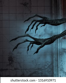 Evil's hands out from the doors of a haunted house,3d rendering