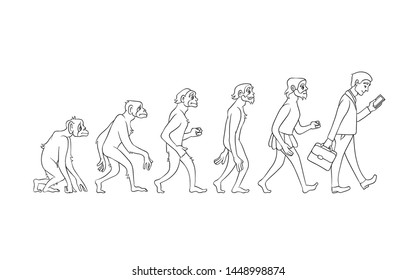evolution concept with monochrome ape to man growth process with monkey, caveman to businessman in suit holding suitcase using smartphone. Mankind development, darwin theory