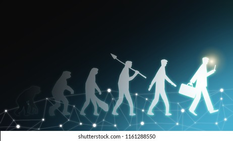 Evolution of man human success transformation innovation survive from change crisis to businessman in future business life in digital tech world disruption financial banking of consumer behaviour