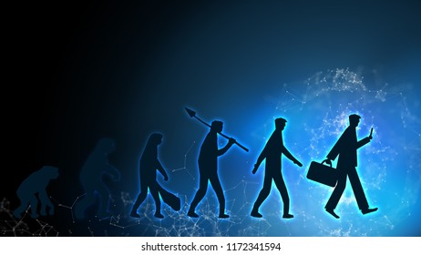 Evolution of man human success transformation innovation survive from change crisis to businessman in future business life in digital space tech world disruption financial banking of consumer globally