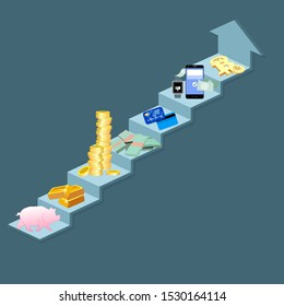 Evolution of money. From barter to cryptocurrency. Innovation pay method, card and coin, barter and crypto. illustration
