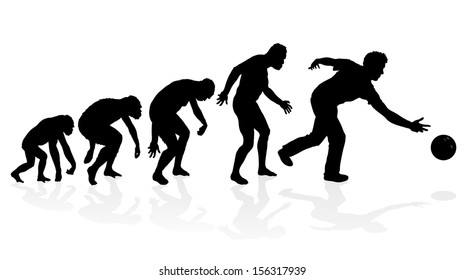 Evolution of the Ten Pin Bowler. Fantastic illustration depicting the evolution of a male from ape to man to Ten Pin Bowler in silhouette.