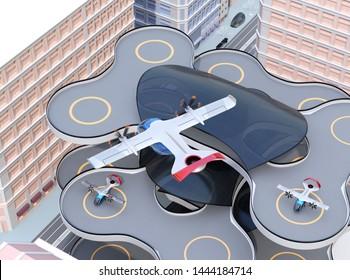 E-VTOL passenger aircraft closing to airport prepare to landing. Urban Passenger Mobility concept. 3D rendering image.