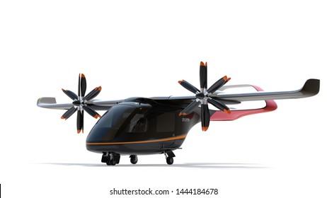 E-VTOL passenger aircraft isolated on white background. Urban Passenger Mobility concept. 3D rendering image.