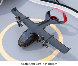 E-VTOL passenger aircraft on airport parking area. Solar panel mounted on the wings. Urban Passenger Mobility concept. 3D rendering image.