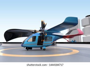 E-VTOL passenger aircraft on airport parking area. Urban Passenger Mobility concept. 3D rendering image.