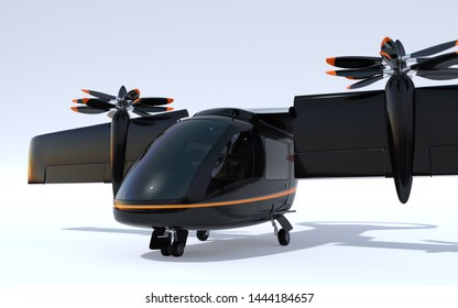 E-VTOL passenger aircraft parking on the ground. Wing rotated into takeoff mode. Urban Passenger Mobility concept. 3D rendering image.