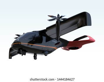 E-VTOL passenger aircraft takeoff from airport.  Urban Passenger Mobility concept. 3D rendering image.