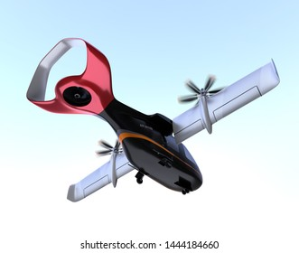 E-VTOL passenger aircraft taking off and flying in the sky. Urban Passenger Mobility concept. 3D rendering image.