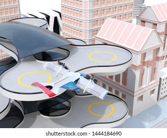 E-VTOL passenger aircraft taking off from an urban airport. Urban Passenger Mobility concept. 3D rendering image.