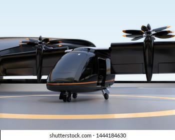E-VTOL passenger aircraft waiting for takeoff from airport. Solar panel mounted on the wings. Urban Passenger Mobility concept. 3D rendering image.