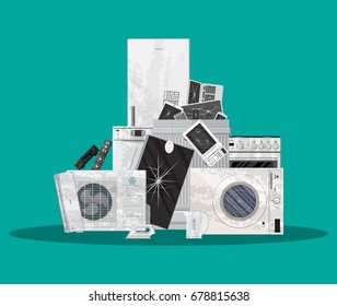 E-waste electrical and electronic equipment pile. Computer and home electronic waste stack. Trash, recycling, ecology. illustration in flat style